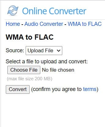 Convert WMA to FLAC with Online Converter