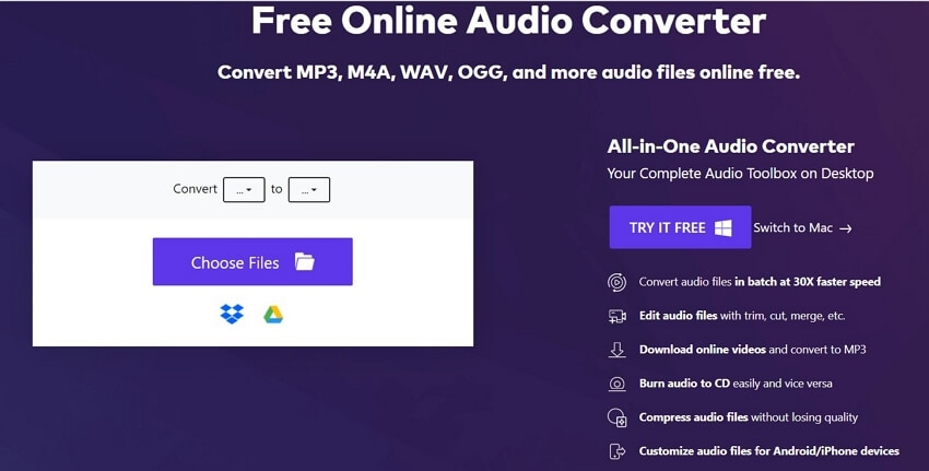 Convert WMA to FLAC with Online UniConverter