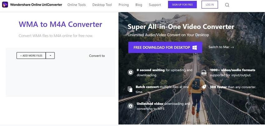 Convert WMA to M4A with Online UniConverter
