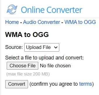 Convert WMA to Ogg with Online Converter