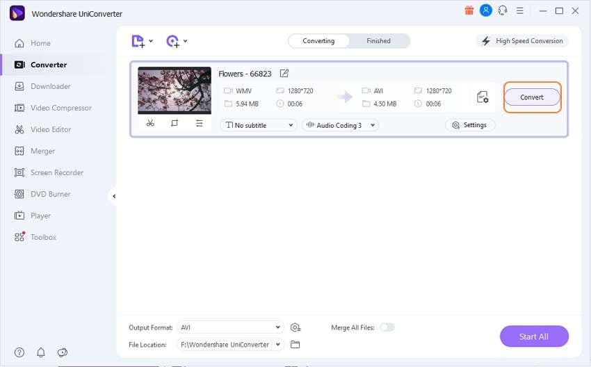 Start converting the WMV file to AVI