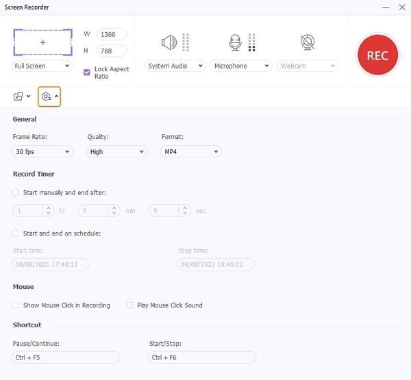 best youtube recording app wondershare uniconverter configure recording settings
