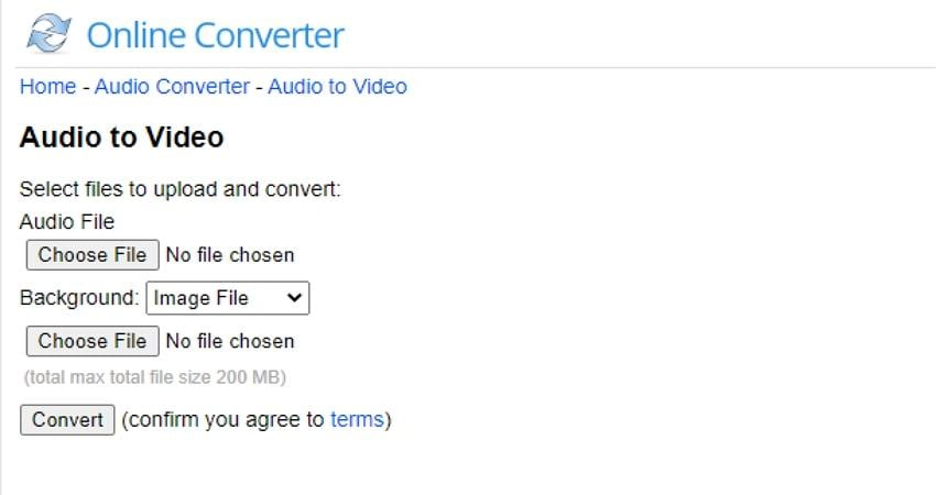 convert a youtube video to audio using online converter click choose file