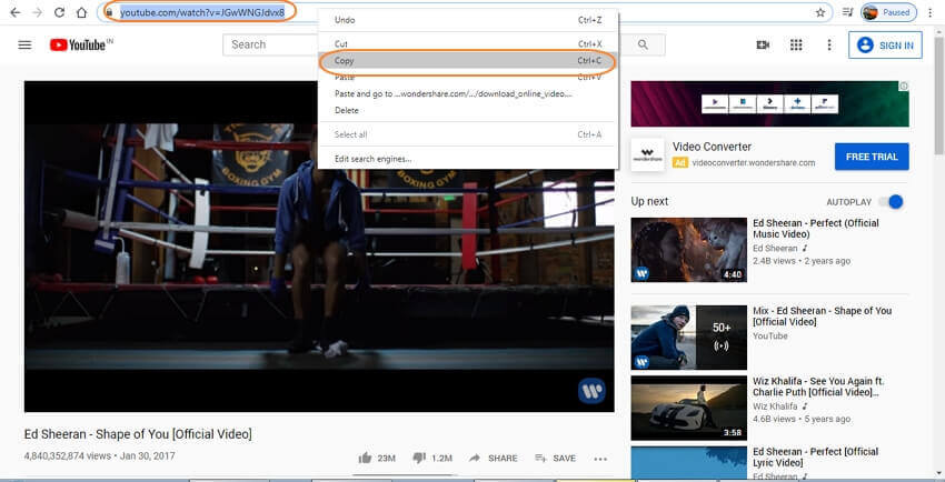 copy URL from YouTube