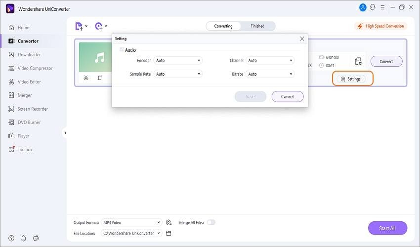 how to convert a youtube video to audio using wondershare adjust audio settings