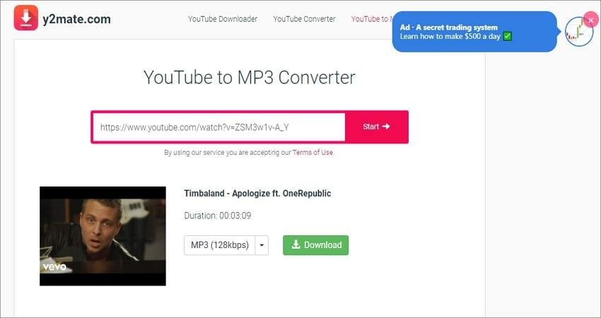 record audio from youtube with y2mate