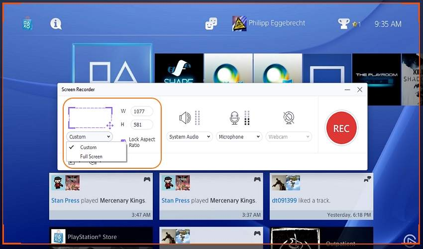 record ps4 gameplay for youtube with uniconverter choose capture area