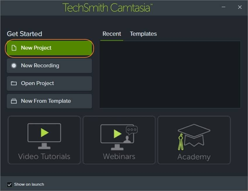 record youtub live stream with camtasia choose a new project