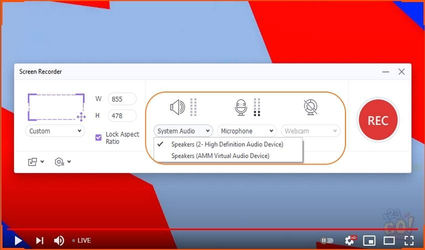 record youtube live stream with wonderhare configure the capture devices