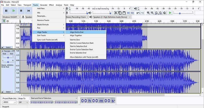 use audacity to record from youtube align tracks