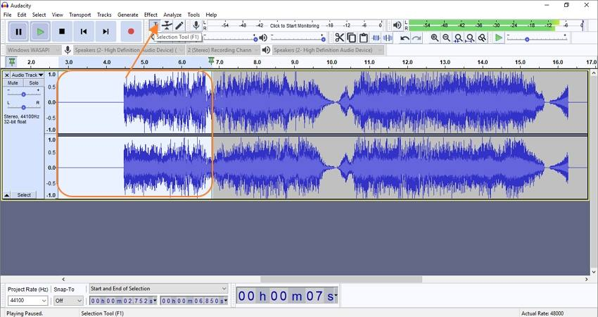 use audacity to record from youtube trim unwanted part