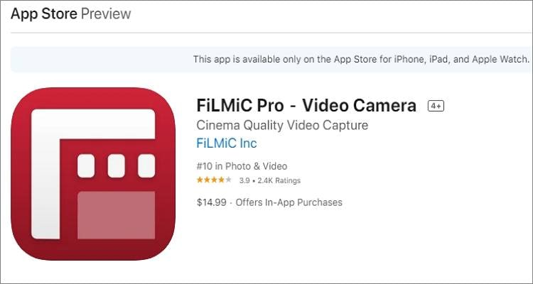 youtube recording app filmic pro for ios